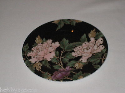 FITZ AND FLOYD FLORAL CLOISONNE PEONY BLACK GOLD TRIM JAPAN ACCENT SALAD PLATE