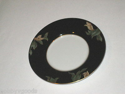 FITZ AND FLOYD FLORAL CLOISONNE PEONY BLACK WITH GOLD TRIM JAPAN FLAT CUP SAUCER