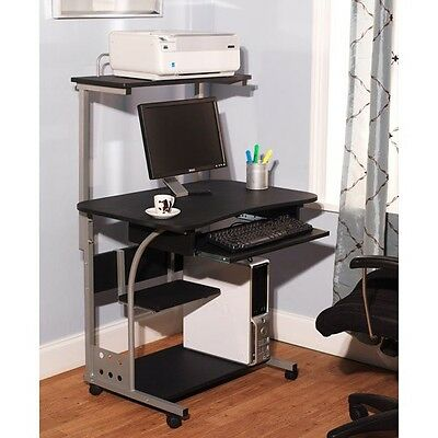Computer Desk W Printer Shelf Stand Home Office Rolling Laptop Study Table New