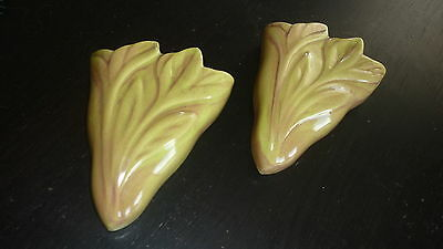 California West Coast Pottery Floral Wall Pockets #435 Lime & Rust