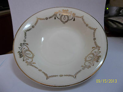 "Antique Vintage Semi Vitreous EDWIN M KNOWLES 41-9 bowl GOLD TRIM"" 5 3/8"" round"