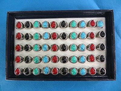 US SELLER-lot of 10 mixed color turquoise fashion rings in antique vintage style