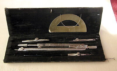 Antique Vintage Russian Caligraphy Drafting Tools Compasses Set In Box