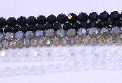 Imitation Crystal Round Faceted Black or Clear/silver AB 8mm, 6mm &4mm