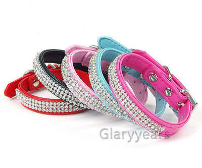 Dog Cat Puppy Collars PU Leather Chic Bling Crystal Buckle Diamond Rhinestones
