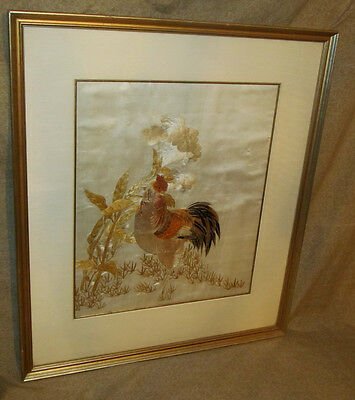 Very Good Antique Chinese or Japanese Needlework Tapestry Rooster