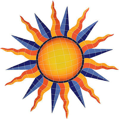 "Ceramic Mosaic Sun Medallion for Swimming Pool or Wall Large 48""x46""  Frostproof"