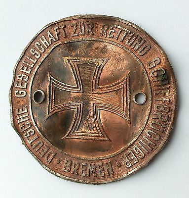 ANTIQUE GERMAN SHIPWRECK SEARCH RESCUE MILITARY BOAT NAVAL SIGN with IRON CROSS