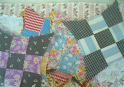 Vintage Quilt Squares Feed Sack Prim Chic Improved 9 Patch Lot Collection