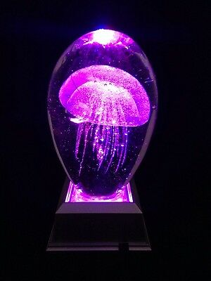 Clear Jellyfish Paperweight With Color LED Light Base