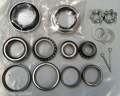 Marine Trailer Wheel Bearing & Axle Nut Washer Kit X 2 Suit Ford Boat Pair