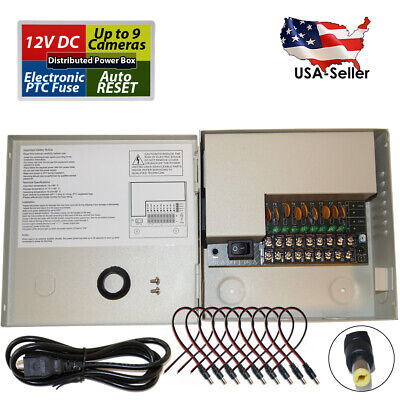 Sikker 18 Port 12v 15A CCTV Cameras Power box supply w// DC Pigtail Male cable 16