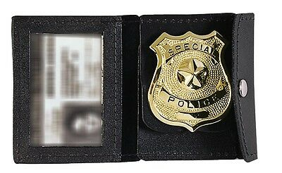 Black Leather Law Enforcement Badge & ID Holder Rothco 1129