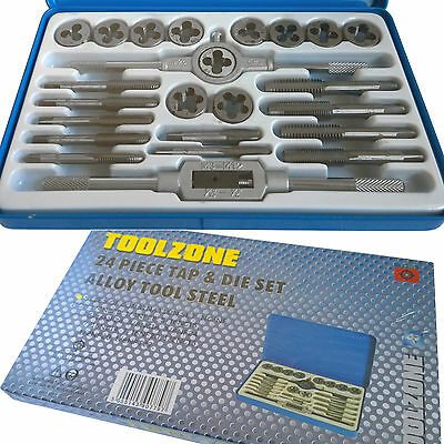 Tap and Die Set/ 24pc Re-threading tool inc wrenches Imperial unf/unc Tap & Die