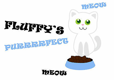 Personalised Purrrfect Pet Cat A4 Feeding Food Mat - Laminated - Easy Wipe Clean