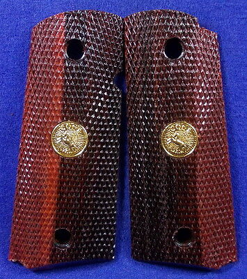 NEW GLOSS WOOD CHECKERED GRIPS FOR COLT 1911 COMPACT, OFFICER