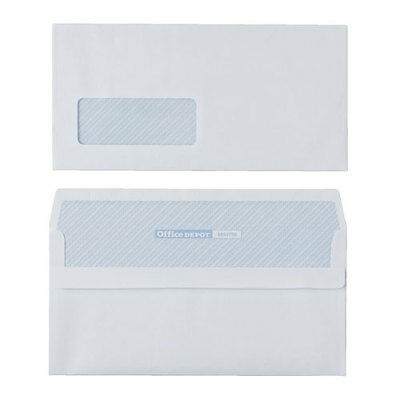 Office Depot DL 80gsm White Self Seal Business Envelopes Window – Box of 1000