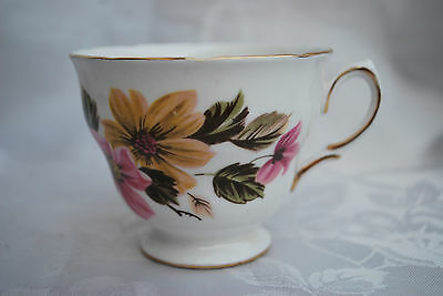 Royal Vale Cup Pattern Number 8218 - Yellow and Pink Flowers - 1950s Cup #738