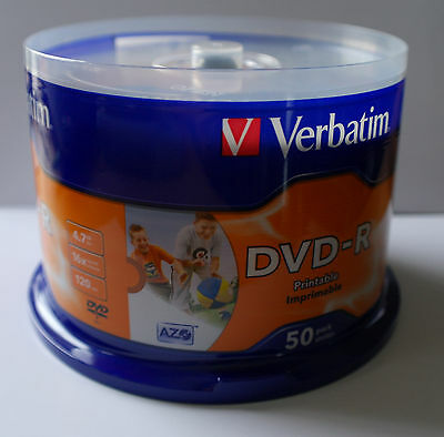 Verbatim Blank DVD R Full Surface White Inkjet Printable 4.7GB 120 min 2 Hours