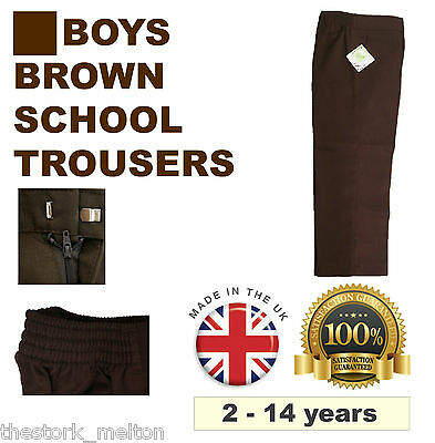 Brown School Trousers Boys Uniform Ages 1 -14 Elasticated Waist Smart Teflon NEW
