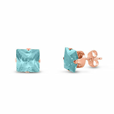 Rose Gold Plated Silver Earrings- Square Lt. Blue Aquamarine CZ~March Birthstone