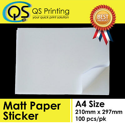 A4 Matt Paper Matte Sticker / Label for Laser / Inkjet printer 100 sheets / pack