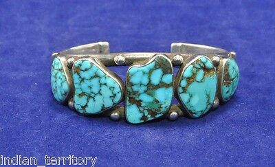 "Navajo Indian Bracelet w/ High Grade Lone Mountain Turquoise c.1950s-61/2"" wrist"