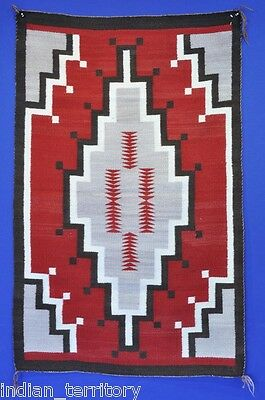 "Antique Navajo Indian Rug: Ganado c.1930  47""x29"" Fine weave Excellent condition"
