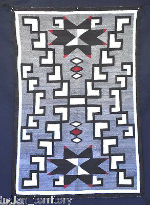 Antique Navajo Crystal Region Rug: Two Valero Stars Motif c.1920 56x39
