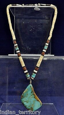 Santo Domingo Indian Necklace with Large Turquoise Pendant c.1965