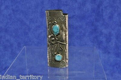 Authentic Navajo Indian Silver Lighter Holder with Two Turquoise Settings c.1980
