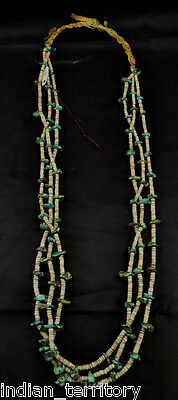 Antique Santo Domingo NM 3 Strand Shell & Spiderweb Turquoise Heishi Necklace