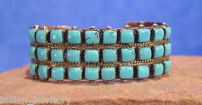 Authentic Zuni Indian Bracelet: Three Rows of 10 Turquoise Stones
