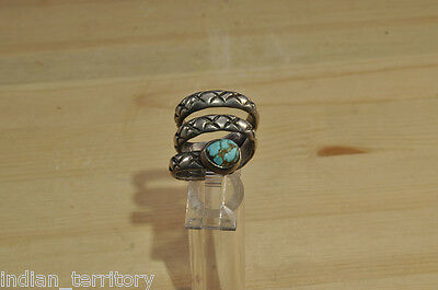"Rare Antique Size 6 Navajo Rattlesnake Ring, 3 Coils Silver & turquoise ""head"""