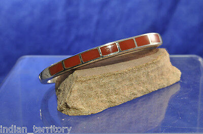 Navajo Indian Inlaid Bracelet; Sterling Silver and Coral c.1950