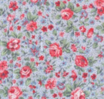 CALICO~TINY PINK FLOWERS on LIGHT BLUE~FAT 1/4