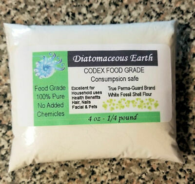 1/4lb 4oz Perma-Guard Pure Food Grade Diatomaceous Earth White CODEX DE Safe