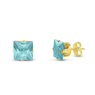 Gold Plated Silver Stud Earrings- Square Lt. Blue Aquamarine CZ~March Birthstone