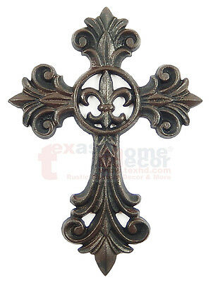 Fleur De Lis Cast Iron Decorative Wall Cross Rustic Brown Finish Victorian Decor