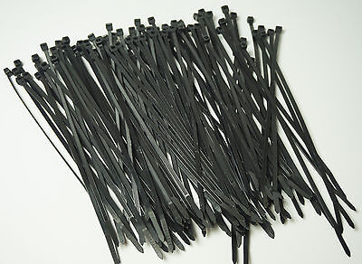 """50 LB HEAVY DUTY 100 PC. 8"""" Long BLACK UV Cable Zip Ties Ty Wraps MADE IN USA"""