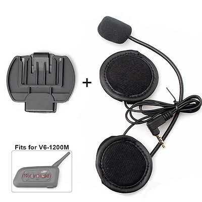 Microphone/Speaker Headphone Headset &Clip Accessory for V4 Bluetooth Interphone