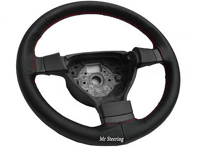 For Vauxhall Corsa Mk3 06-10 Perforated Leather Steering Wheel Cover Red Stitch