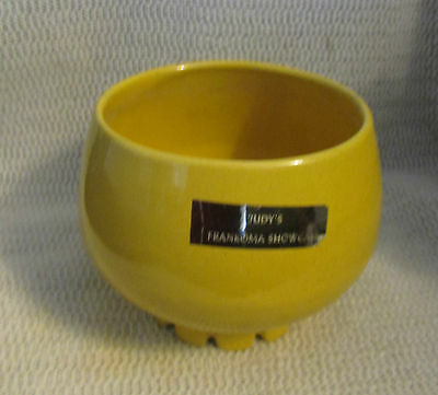 "FRANKOMA POTTERY SUNFLOWER YELLOW..5"" COGWHEEL FOOTED VASE PLANTER #235"