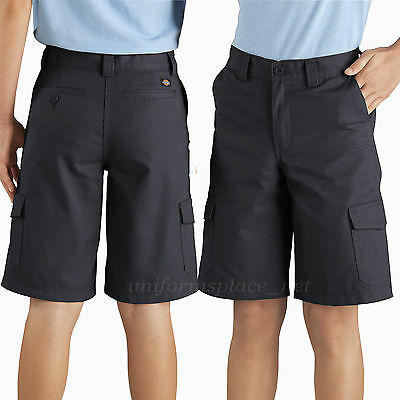 "Dickies Shorts Boys 10"" Cargo Pocket shorts School Uniforms KR410 Black"
