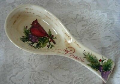 Collectible Red Cardinal Bird / Peace / Berries Spoon Rest - NEW