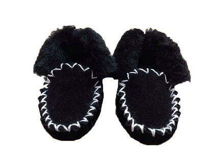 Genuine Sheepskin Kids Moccasns Black Colour Australian Made