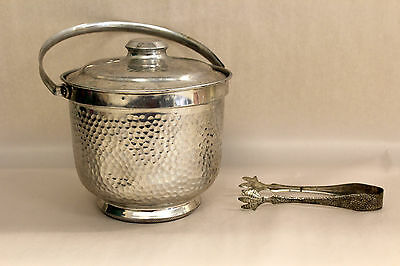 """VTG 50-60s Atomic Hammered Aluminum Ice Bucket w Dragon Scale Tongs Italy 12x8"""""""