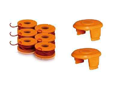 (6) New OEM Worx Trimmer Line Spools & (2) Spool Cap Covers CORDLESS GT TRIMMERS