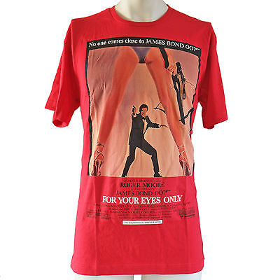 Men's Retro James Bond T Shirt 007 For Your Eyes Only Roger Moore Red Size L