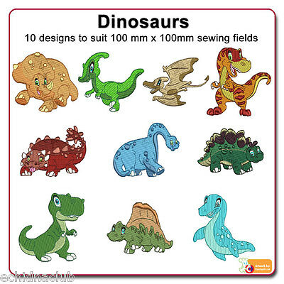 Dinosaurs Embroidery Designs...10 Designs.